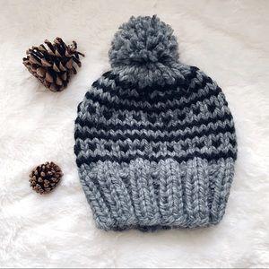 Winter Gray & Black Pom Pom Hat
